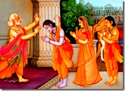 Sita, Rama, and Lakshmana leaving for exile