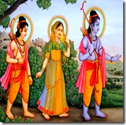 Sita Rama and Lakshmana walking in the forest