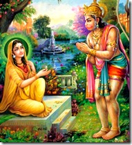 Hanuman giving ring to Sita