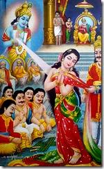 Krishna protecting Draupadi