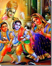 Krishna and Balarama with Mother Yashoda