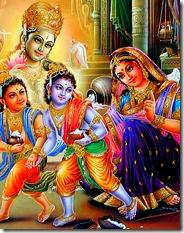 Krishna and Balarama with Mother Yashoda