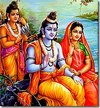 Sita, Rama, and Lakshmana in the forest