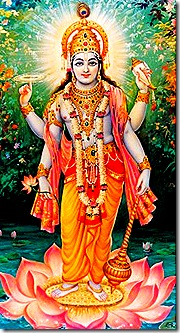 In His form as Lord Vishnu, Krishna passed down the Vedas to Brahma