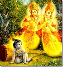 Krishna liberating Nalakuvara and Manigriva