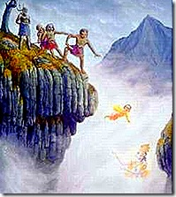 Demons throwing devotee Prahlada off a cliff