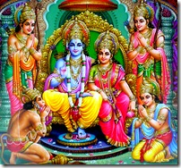 Rama with three brothers, wife, and Hanuman