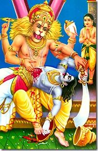 Narasimhadeva protecting Prahlada