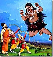 Rama and Lakshmana killing a Rakshasa