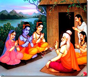 Sita, Rama, and Lakshmana visiting a sage