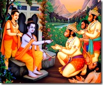 Lord Rama giving ring to Hanuman