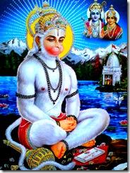 Hanuman praying to Sita and Rama
