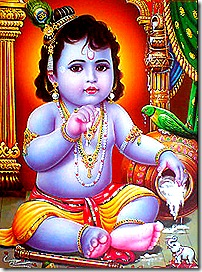 Lord Krishna enacting pastimes