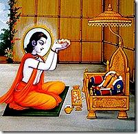 Bharata worshiping Lord Rama's sandals