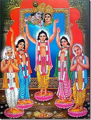 Lord Chaitanya and associates worshiping Radha and Krishna