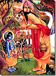 Lord Brahma talking to Lord Krishna