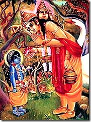 Lord Brahma talking to Lord Krishna