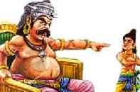 Hiranyakashipu chastising Prahlada