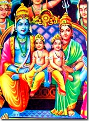 Lord Rama on the throne with His wife Sita and two sons