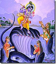 Krishna controlling the Kaliya serpent