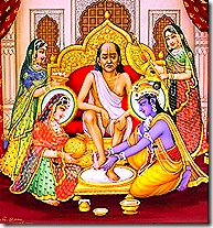 Krishna and Rukmini tending to a brahmana guest