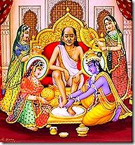 Krishna and Rukmini tending to a brahmana guest