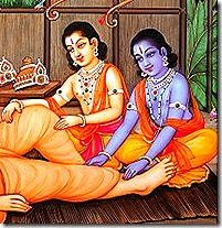 Rama and Lakshmana serving Vishvamitra