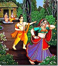 Shurpanakha running back to Ravana