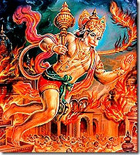Hanuman laying siege to Lanka