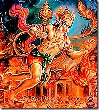 Hanuman laying siege to Lanka