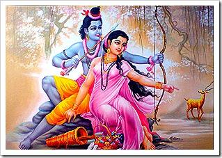 Sita and Rama spotting Maricha
