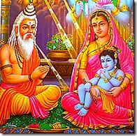 Garga Muni reading Krishna's astrological signs