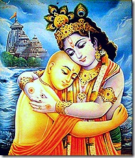 Lord Chaitanya hugging Krishna