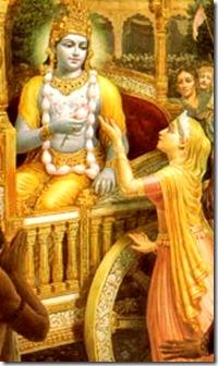 Kunti praying to Krishna