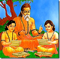 Valmiki teaching Lava and Kusha, the two sons of Lord Rama