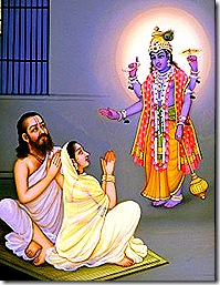 Krishna showing His Vishnu form to Vasudeva and Devaki