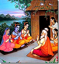 Sita, Rama, and Lakshmana visiting a hermitage