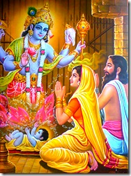 Vasudeva and Devaki praying to Krishna