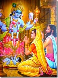 Vasudeva and Devaki praying to Krishna