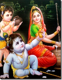 Mother Yashoda with Krishna and Balarama