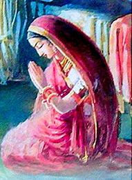 Devotee praying to God