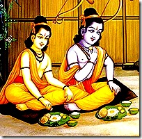 Rama and Lakshmana eating