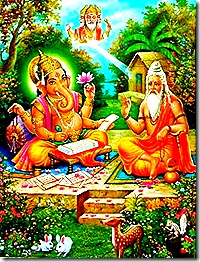 Vyasa dictating to Ganesha