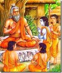Lord Rama and brothers learning from their guru