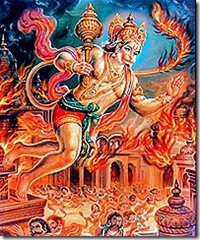 Hanuman destroying the city of Lanka