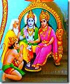 Sita and Rama being worshiped
