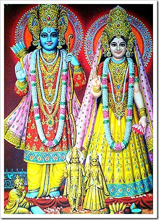 Hanuman worshiping Sita-Rama