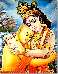Lord Chaitanya hugging Krishna