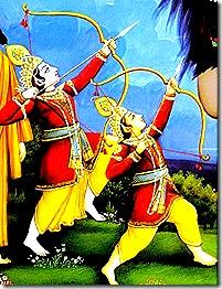 Rama and Lakshmana slaying a demon