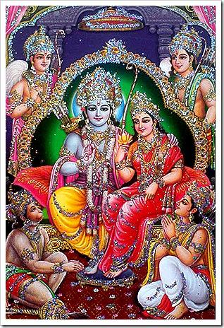 Lord Rama with Sita, brothers, and Hanuman